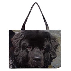 Black Newfie Medium Zipper Tote Bag