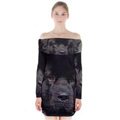 Black Newfie Long Sleeve Off Shoulder Dress