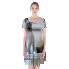 Ragdoll Kitten Short Sleeve V-neck Flare Dress