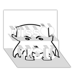 Petit Vampire Cartoon Illustration Miss You 3d Greeting Card (7x5)
