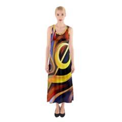 Art Oil Picture Music Nota Sleeveless Maxi Dress