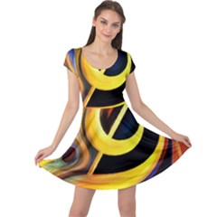 Art Oil Picture Music Nota Cap Sleeve Dresses
