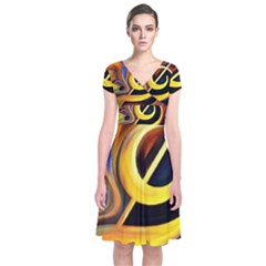 Art Oil Picture Music Nota Short Sleeve Front Wrap Dress