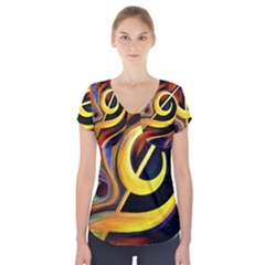 Art Oil Picture Music Nota Short Sleeve Front Detail Top