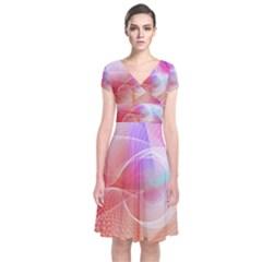 Background Nebulous Fog Rings Short Sleeve Front Wrap Dress