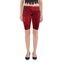 Background Structure Pattern Red Yoga Cropped Leggings