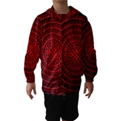 Background Structure Pattern Red Hooded Wind Breaker (Kids)