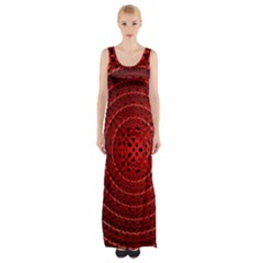 Background Structure Pattern Red Maxi Thigh Split Dress