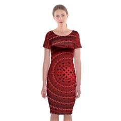 Background Structure Pattern Red Classic Short Sleeve Midi Dress