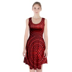 Background Structure Pattern Red Racerback Midi Dress