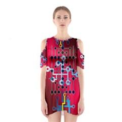Board Circuits Trace Control Center Cutout Shoulder Dress