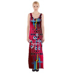 Board Circuits Trace Control Center Maxi Thigh Split Dress