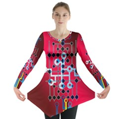 Board Circuits Trace Control Center Long Sleeve Tunic