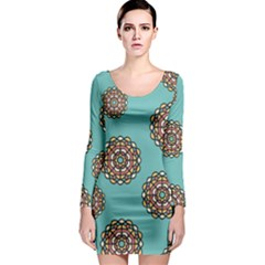 Circle Vector Background Abstract  Long Sleeve Bodycon Dress