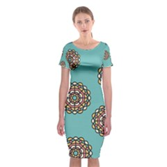Circle Vector Background Abstract  Classic Short Sleeve Midi Dress
