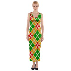 Colorful Color Pattern Diamonds Fitted Maxi Dress