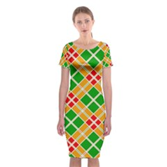 Colorful Color Pattern Diamonds Classic Short Sleeve Midi Dress