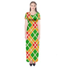 Colorful Color Pattern Diamonds Short Sleeve Maxi Dress