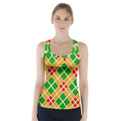 Colorful Color Pattern Diamonds Racer Back Sports Top