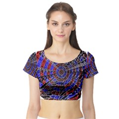 Creative Batik Artwork Blue Red Short Sleeve Crop Top (Tight Fit)