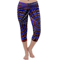 Creative Batik Artwork Blue Red Capri Yoga Leggings