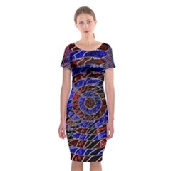 Creative Batik Artwork Blue Red Classic Short Sleeve Midi Dress