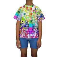 Creativity Abstract Squares  Kids  Short Sleeve Swimwear