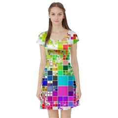 Creativity Abstract Squares  Short Sleeve Skater Dress