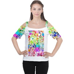 Creativity Abstract Squares  Women s Cutout Shoulder Tee
