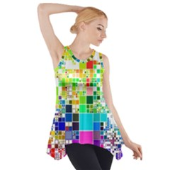 Creativity Abstract Squares  Side Drop Tank Tunic