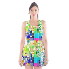 Creativity Abstract Squares  Scoop Neck Skater Dress