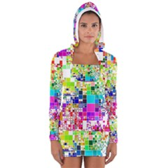 Creativity Abstract Squares  Women s Long Sleeve Hooded T-shirt