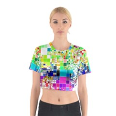 Creativity Abstract Squares  Cotton Crop Top