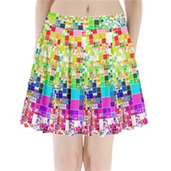 Creativity Abstract Squares  Pleated Mini Skirt