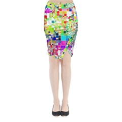 Creativity Abstract Squares  Midi Wrap Pencil Skirt