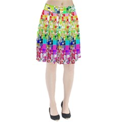Creativity Abstract Squares  Pleated Skirt