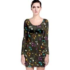 Fabric Long Sleeve Velvet Bodycon Dress