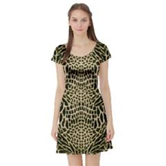 Brown Reptile Short Sleeve Skater Dress
