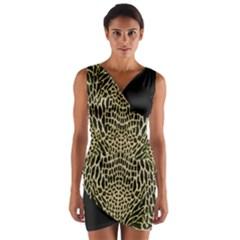Brown Reptile Wrap Front Bodycon Dress