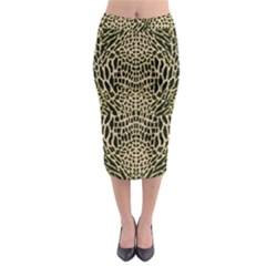 Brown Reptile Midi Pencil Skirt