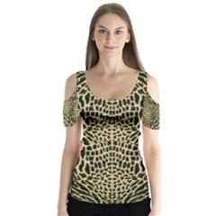 Brown Reptile Butterfly Sleeve Cutout Tee