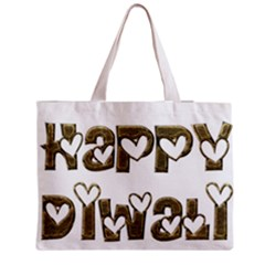 Happy Diwali Greeting Cute Hearts Typography Festival Of Lights Celebration Medium Zipper Tote Bag
