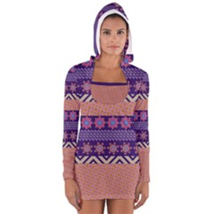 Colorful Winter Pattern Women s Long Sleeve Hooded T Shirt
