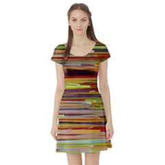 Fabric Colorful Color Pattern Short Sleeve Skater Dress