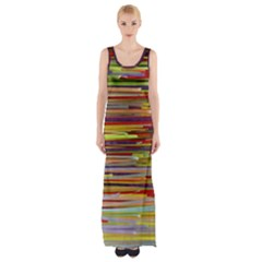 Fabric Colorful Color Pattern Maxi Thigh Split Dress
