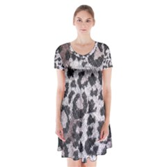 Fabric Knitting Tissue Wool Short Sleeve V-neck Flare Dress