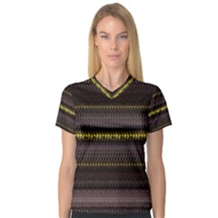 Fabric Pattern Color Structure Women s V-Neck Sport Mesh Tee