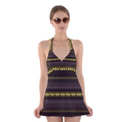 Fabric Pattern Color Structure Halter Swimsuit Dress