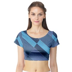 Fabric Textile Texture Blue Shades Short Sleeve Crop Top (Tight Fit)