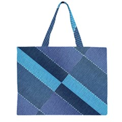 Fabric Textile Texture Blue Shades Large Tote Bag